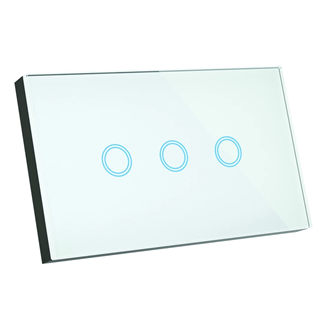 Smart Glass 3 button glass light switch for 3 on/off circuits