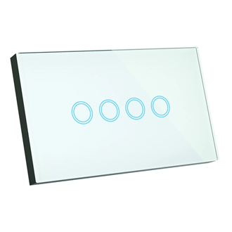 Smart Glass 4 button glass light switch for 4 on/off circuits
