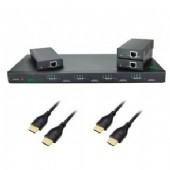 KIT-SMARTVIDEO-4x4 includes 4x4 Matrix, with 3 x HDBase T extenders, 4x 0.5m Slimline HDMI Cables, 4 x1.5M SLIMLINE HDMI Cables